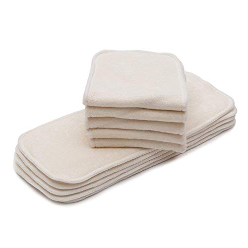 KaWaii Baby Pack of 10 One Size Premium Bamboo Inserts 5 Layers Super Absorbent Organic Bamboo Inserts, Compatible with One Size Diaper 8-36 lbs Washable Reusable, No Microfiber or Fleece Inside.