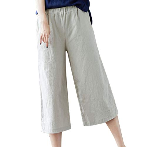 FEDULK Womens Cotton Linen Trousers Casual Elastic Waist Loose Cropped Wide Leg Comfy Pants(Beige, Medium)