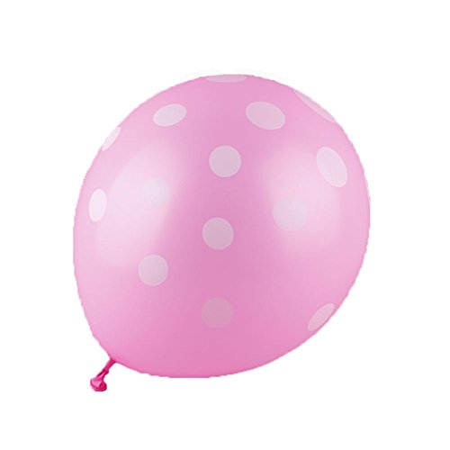 50 Ct 12 Inch Balloons Polka Dot Assorted Color 12 Inch Helium Quality Latex Inflatable for Festival Party Decoration Happy Birthday Home Decor Air Balls (15 Colors for Choice) (Pink) ()