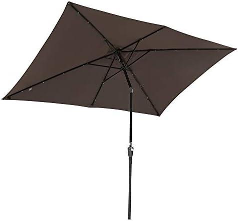 Yescom 10×6.5ft Outdoor Rectangular Solar Powered LED Lighted Patio Umbrella Table Market Umbrella