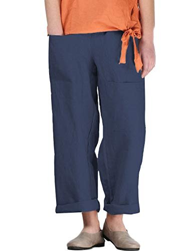 Mordenmiss Women's Linen Tapered Pants Wide Leg Ankle Trousers with Two Front Pockets(L,Navy)