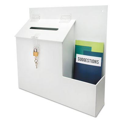- deflecto 79803 Plastic Suggestion Box with Locking Top, 13 3/4 x 3 5/8 x 13 15/16, White