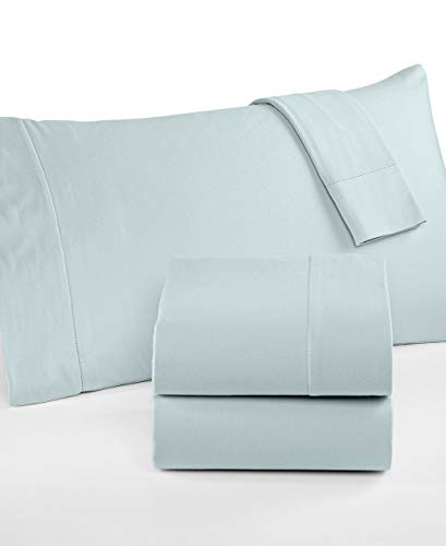 Martha Stewart Collection Luxury 100% Cotton Flannel Queen Sheet Set Powder Blue best to buy