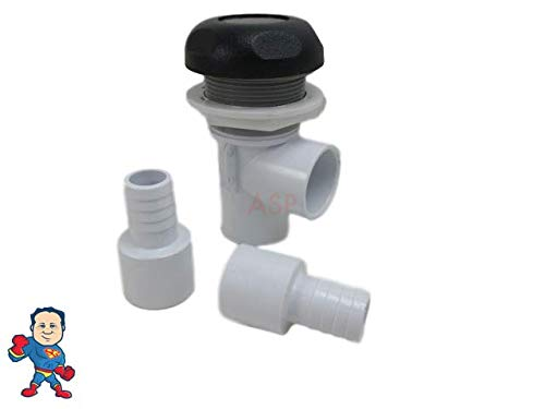 "Hot Tub Spa Part Black Waterfall Valve with (2) 3/4"" Barbs"