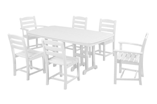 POLYWOOD PWS131-1-WH La Casa Caf 7-Piece Dining Set, White