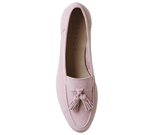 Office Retro Tassel Loafers Pink Suede With Metal Heel 0aMUTP
