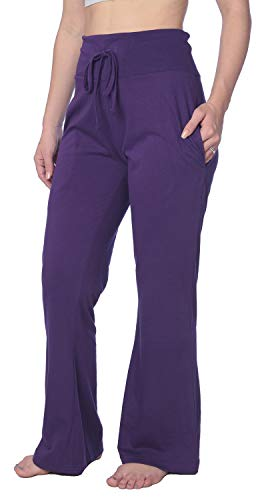 (Women's Long Leg Jersey Knit Pajama Lounge Pant Available in Plus Size HWLP01_19 Purple)