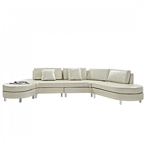 Beliani Copenhagen Contemporary Italian Design Sectional Sofa, Cream