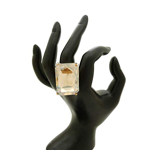 Fashion 21 Women's Extra Big Crystal Colorful Stone Stretch Ring (Rectangle - Light Brown) -