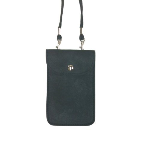 Style Leather Collection - Leather Neck Pouch for Phone (Style 1) - Black
