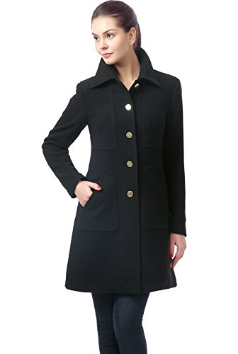 Walking Coat Wool Blend - BGSD Womens Elizabeth Wool Blend Walking Coat,Black,Medium