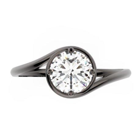 ELYA Bagues Or Noir 18 carats Saphir Blanc 0,6 Rond