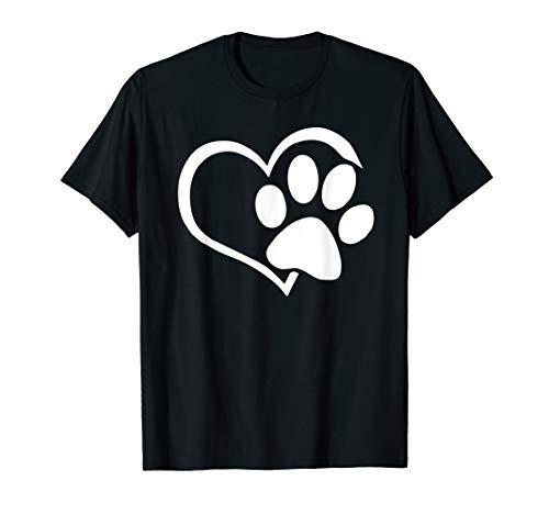 Dog Puppy Shirt - I Love Dogs Paw Print Heart Cute Women Men ()