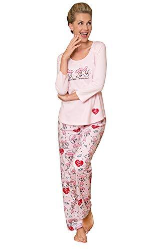 PajamaGram Ladies Pajamas Sets Cotton - Lucy Women's Pajamas, Pink, S, 4-6