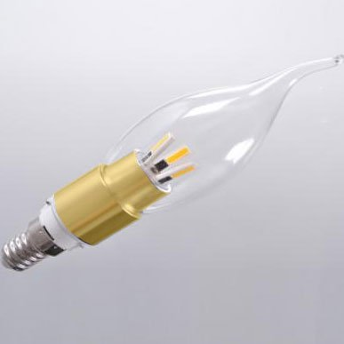 CrystalPlace Golden LED lightbulb 4 Watt Clear Dimmable Candelabra Base Flame Tip Warm Warm Light 2700K E12 120 Volt, Brightest 40 Watt Bulb Replacement