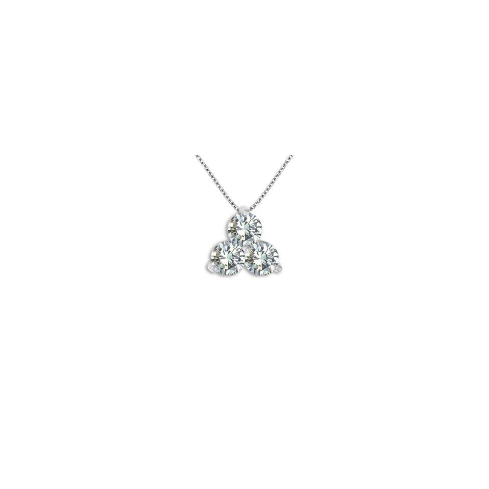 1.0 CTW Three Stone I1 Diamond Triangle Pendant 14K White / Yellow Gold Necklace