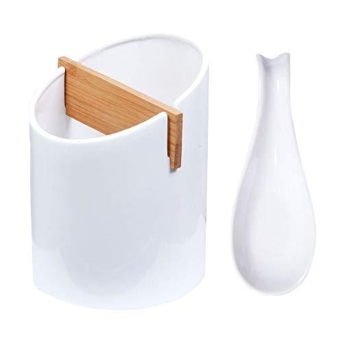 Kitchen Utensil Holder and Spoon Rest Set - Utensils Cutlery Holder | Utensil Organizer | Kitchen Tools Utensil Caddy - Utensil Crock Cutlery Holder - Large Ceramic Cooking Countertop Tool Holder (Porcelain Utensil White Holder)
