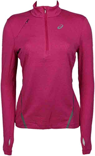 - ASICS Women's Thermopolis LT Thermal Lightweight 1/2 Zip Top, Magenta Heather, X-Small