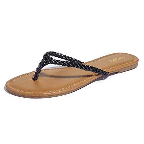 Womens Flip Flops, Easy Braided Thong Flat Sandals for Summer Black ()