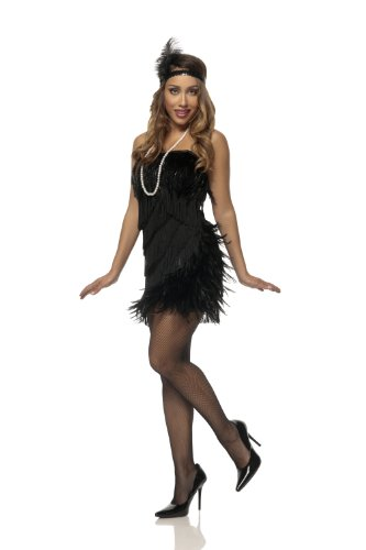 [Mystery House Costumes Swan Flapper, Black, Small] (Swan Halloween Costumes)