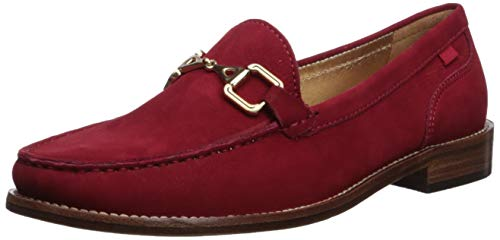 MARC JOSEPH NEW YORK Womens Leather Park Ave Buckle Loafer, Cherry red Nubuck, 10.5 B(M) US