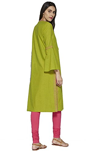 Kurtis Bell Embroidered for with Festive Sleeves Indian Long amp; Green Dress Calf Aahwan Casual Women Flute Cotton pC051qw