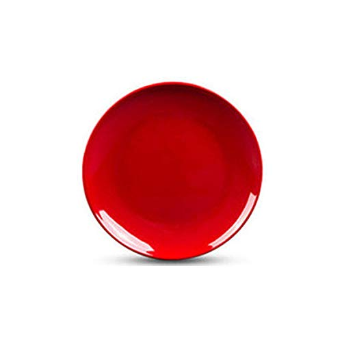 (1 PC 10 inch Melamine Round Plate Dish Eco-friendly Dinnerware Spaghetti Fruit Pastry Buffet Hot Pot Shop Kitchen BBQ Use,red )