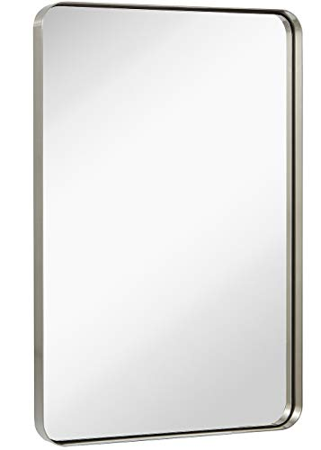Hamilton Hills Contemporary Brushed Metal Wall Mirror | Glass Panel Silver Framed Rounded Corner Deep Set Design | Mirrored Rectangle Hangs Horizontal or Vertical (24