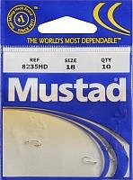 Mustad Classic 5 Extra Strong Turned Down Ball Eye Hollow Point Duratin Limerick Hook (Pack of 10), - Hooks Limerick