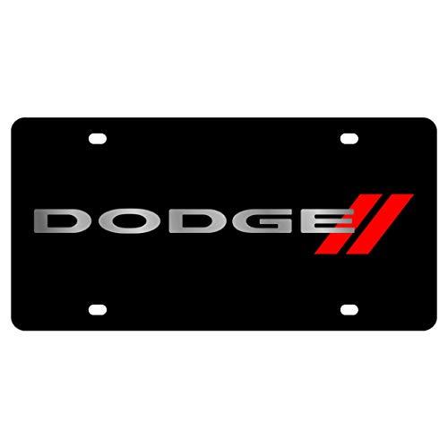 Eurosport Daytona Laser Dodge Red Stripes License Plate Frame 3D Novelty Tag - Official Licensed