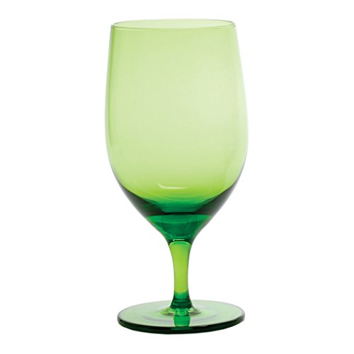 Green Glass Goblet - D&V Glass Gala Collection Goblet/Beverage Glass 15 Ounce, Olive, Set of 12