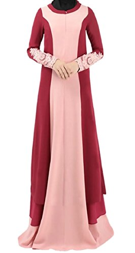 Smeiling Women's Embroidery Color Stitching National Costume Muslim Maxi Dress Red (China National Dress Costume)