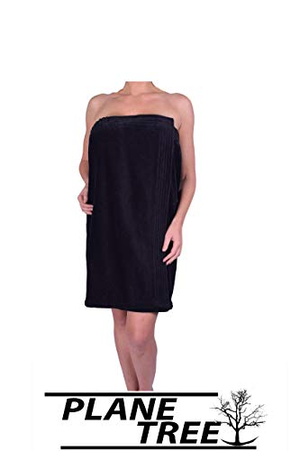 (PLANE TREE Women's Cotton Terry Velour Pool,Gym,Spa Body Wrap Pure Turkish Soft Cotton Towels(Black))