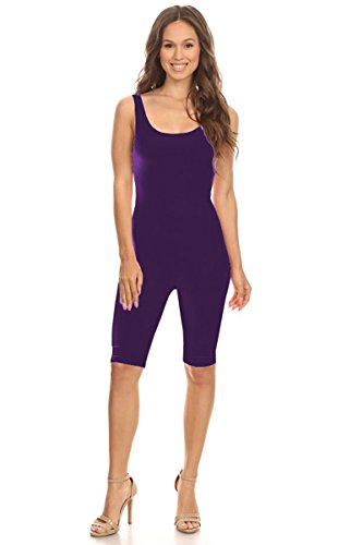 Women Sleeveless Stretch Skinny Solid Knee Length Sport Unitard Bodysuits Active (2X-Large, Purple) -