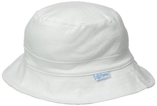 White Cotton Cap (i play. Baby Organic Cotton Reversible Bucket Hat, White, 0-6)