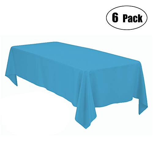Minel Disposable Party Table Cloths Rectangular 6 Pack Turquoise