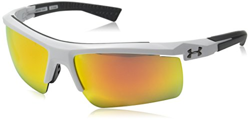 (Under Armour Shield, UA CORE 2.0 Shiny White/Charcoal Frame/Gray/Orange MULTIFLECTION Lens, L/XL)