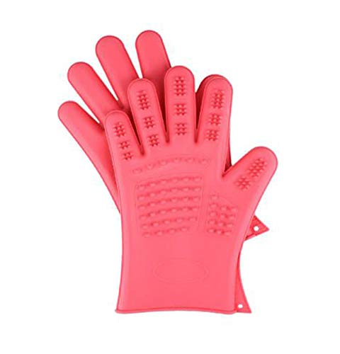 Pet Massage Hair Removal Gloves Hair Removal Brush, Silicone Pet Grooming Gloves 1 Pair for Long Hair and Short Hair,Pink