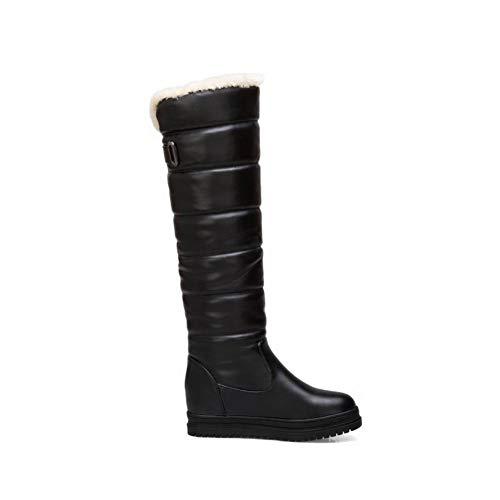 Black Wedge Boots Platform Winter Long Women's Carolbar ZYUqWxCwfC