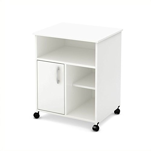 (South Shore 7250691 1-Door Printer Stand with Storage on Wheels, Pure White)