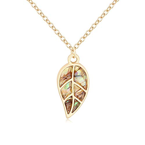 SENFAI Flower of Leaf Abalone Shell Chain Pendant Charms Necklace 18