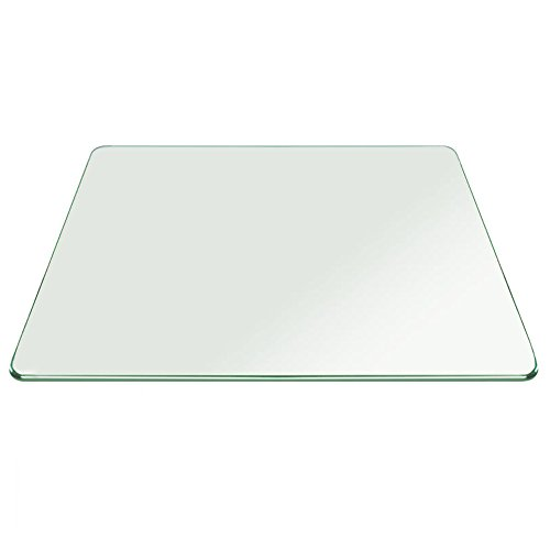Fab Glass and Mirror 27 Inch Square Tempered 3 8 Thick Pencil Polish Touch Corners Glass Table Top, Clear