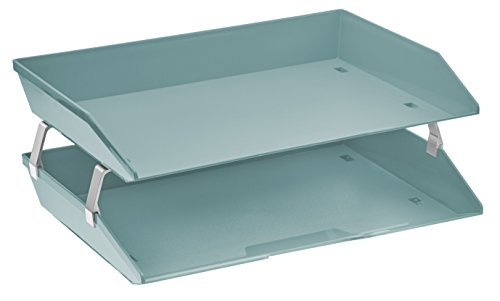 (Acrimet Facility 2 Tiers Double Letter Tray (Solid Green Color))