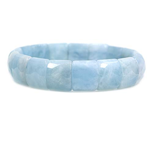 (Amandastone Natural Blue Aquamarine Genuine Semi Precious Gemstone 15mm Square Grain Faceted Beaded Stretchable Bracelet 7.5