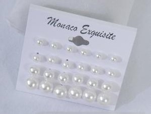 Fashion Jewelry ~ White ABS Faux Imitation Pearls Mix Sizes Earrings 24 pairs Pairs 019915 Mc