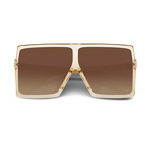 CHAUOO Ultralight Square Sunglasses Classic Fashion Style 100% UV Protection For Men And Women, Champagne, -