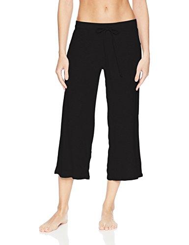 - PJ Salvage Women's Lily Lesuiree Rib-Knit Crop Pant, Black, XS