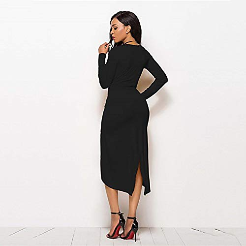 De XXL Asimétrico Black Vaina TTSKIRT Vestido Un Mujer Color Frunce Calle Chic anOnEHWP1