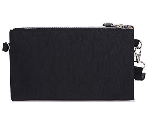 portable Dragonne Sac d'épaule pour sangle couches trois avec Nylon Big fermeture sac Chou main Petit pochette téléphone en à imperméable éclair black tq4x7UaHWw
