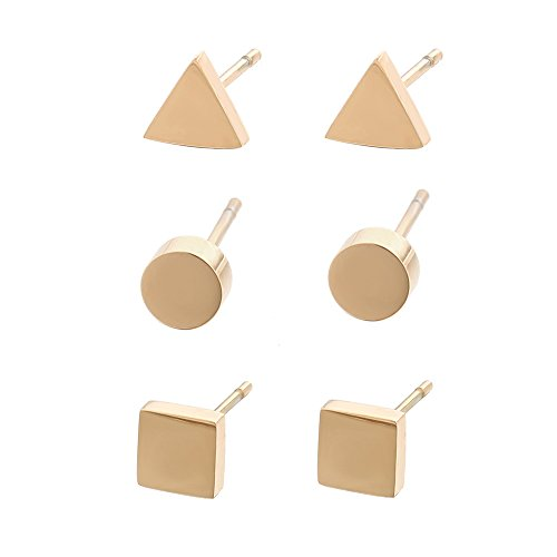 Lureme Stainless Steel Rose Gold Tiny Circle Triangle Square Stud Earrings Set 3 Pairs (er005602-2) Small Square Earrings